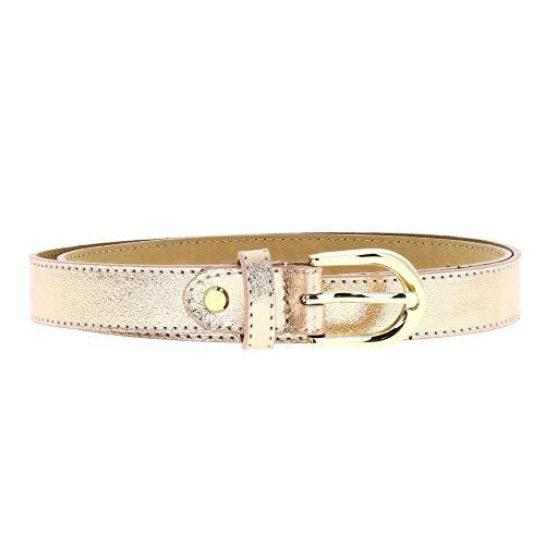 FASHIONGEN - Cintura Donna 2,50 cm in vera pelle italiana con fibbia dorata HACENA, fatto in ITALIA - Rosa d'Oro, 85