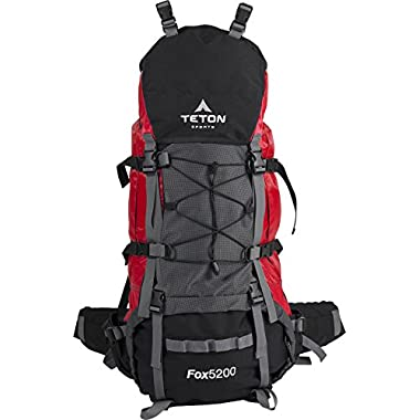 Teton Sports Fox 5200 Internal Frame Backpack – Not Your Basic Backpack; High-Performance Backpack for Backpacking, Hiking, Camping; Sewn-in Rain Cover; Red