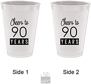 Mandeville Party Company 90th Birthday Frost Flex Plastic Cups - Cheers to 90 Years (10 Cups)