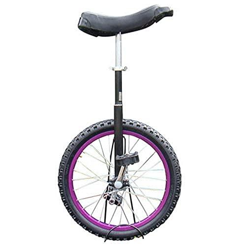 Monociclo Al Aire Libre para Niños/Adultos/Adolescentes, Monociclo con Ruedas De 14/16/18/20 Pulgadas, Bicicleta De Equilibrio con Llanta De Aleación, Ciclo Básico para Principiantes, Morado Dur