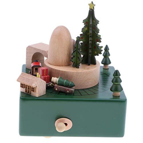 Homyl Holz Spieluhr Spieldose mit Musik Eisenbahn/Riesenrad/Windmühle/Karussell/Gebäude Musik Box Spielzeug - D