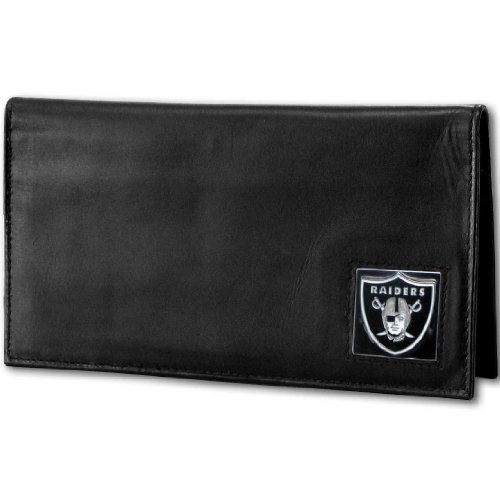 NFL Siskiyou Sports Fan Shop Las Vegas Raiders Deluxe Leather Checkbook Cover One Size Black