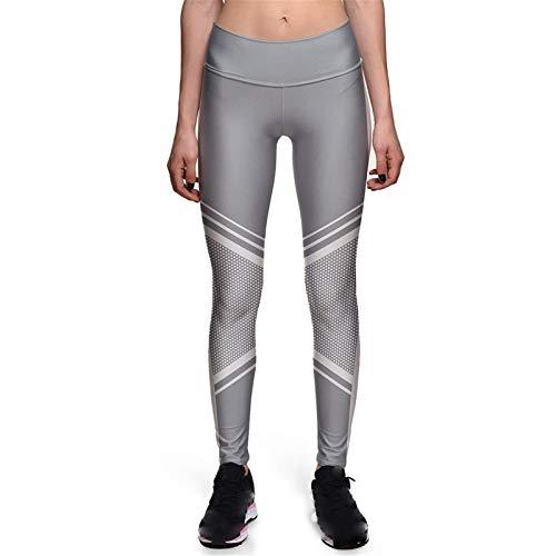 Mallas de Deporte de Mujer, Las impresiones de las mujeres Pantalones de yoga delgado de la cintura alta Control de la panza del tope de la taza de 4 vías Estirar las polainas de los deportes que ejec