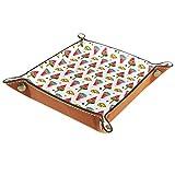 Svuotatasche in pelle, vassoio quadrato pieghevole per dadi, vassoio organizer da toeletta per monete portamonete anguria ghiaccio limone