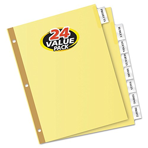 Avery 8-Tab Binder Dividers, Insertable Clear Big Tabs, 24 Sets (11115)
