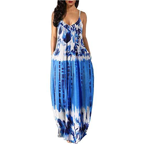 ZASUN Womens Maxi Dresses Casual Sleeveless Long Dresses Plus Size Sundress Fashion Print Summer Beach Dress with Pockets