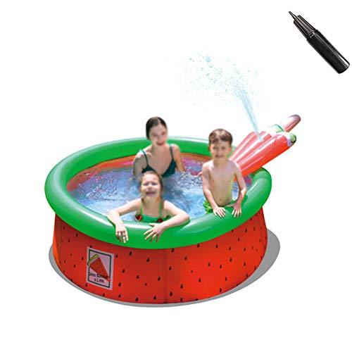 Opblaasbaar Zwembad Met Glijbaan Draagbare Zwembad Voor De Zomer Family Party PVC Ring Zwembad Met Pomp,Watermelon 175 * 62cm