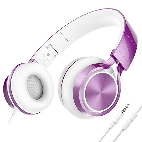 AILIHEN MS300 Kopfhörer Mit Kabel Faltbare Stereo On Ear Wired Headset 3,5mm für Android Smartphone Laptop Tablet PC Computer (Lila)