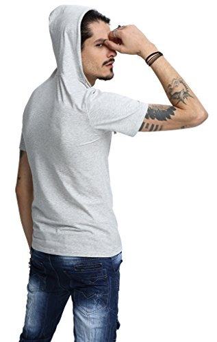 Pizoff Unisex Hipster Short Sleeve Crew Neck Work Out Slim Fit Pullover Cotton Hooded Shirt B025-LightGrey-S-P