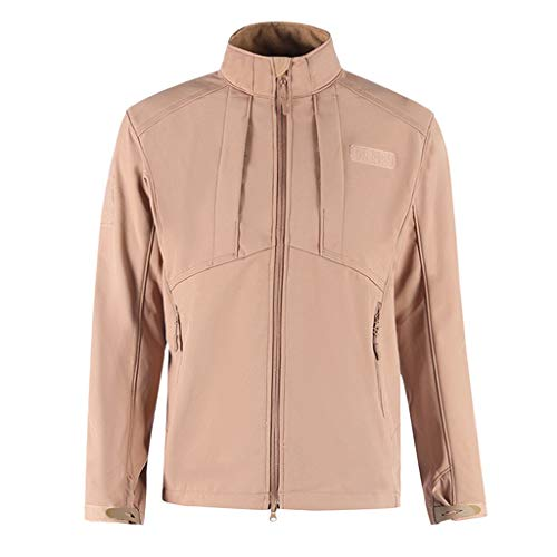 Outdoor Jacket Men's Windproof Softshell Zipper Fleece-Lined Jacket Windbreaker Khaki