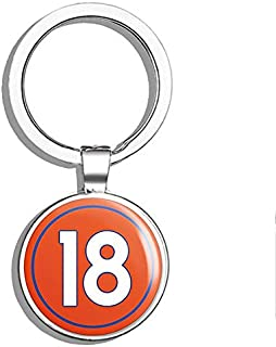 PRS Vinyl Round #18 Peyton Manning Denver Colors (Number 18 Broncos) Double Sided Stainless Steel Keychain Key Ring Chain Holder Car/Key Finder