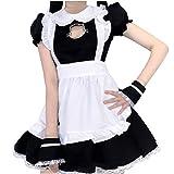 Costume De Cosplay, Maid Cosplay Costume Filles Robe Une Pièce Lolita Maid Dress Maid Costume Fantaisie Robe avec Tablier Blanc Et Chapeaux Performance Props pour Mardi Gras Carnaval Cosplay