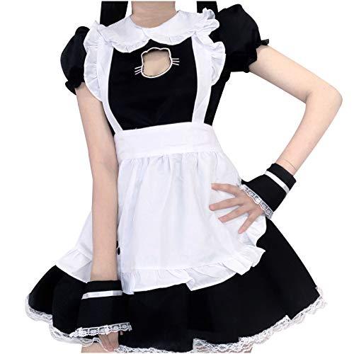NAQUSHA Disfraz de mucama encantadora para mujer, vestido japonés de manga corta, vestido de fiesta para mujer