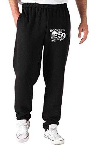 T-Shirtshock Pantalones Deportivos Negro T0263 Rockers 59 Style Auto Moto Motori