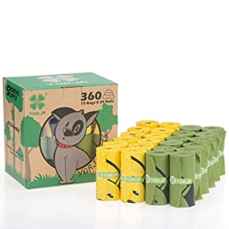 YORJA Dog Poo Bags,24 Rolls/360 Pooh Bags,Extra Thick and Strong,Leak Proof,Biodegradable Poop Bags for Dogs,Unscented Waste Bag 18
