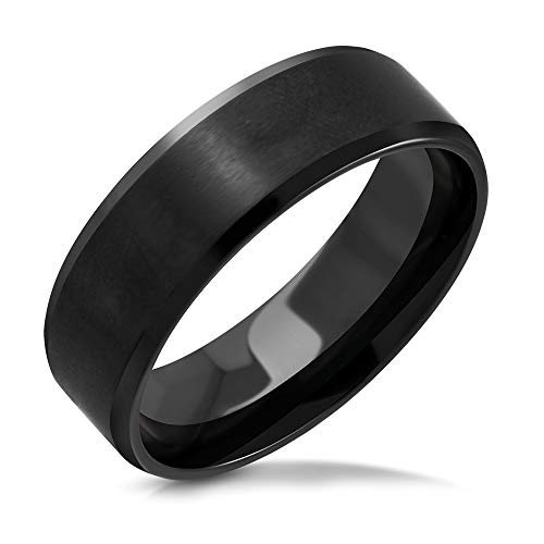 Pure316 Men's 8mm | Beveled Edge Comfort FitBand Ring in Black 316L Stainless Steel - JK-RRR528-10