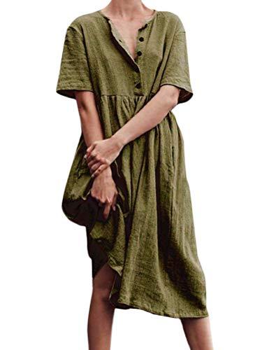 Minetom Leinenkleid Damen Sommer T-Shirt Tunika Kleid Vintage Baggy Party Midi Kleider Tasten Lose Kurzarm Strandkleid Grün DE 42