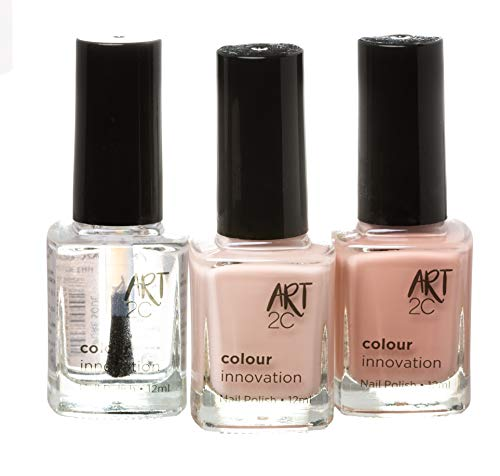 Art 2C - Colour Innovation Lot de 3vernis à ongles à finition classique, 3x12ml, 3couleurs Nude