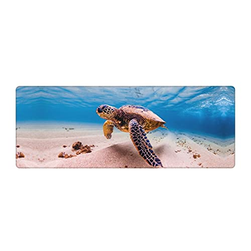 Waldeal Sea Turtle Extended Gaming Mouse Pad (31.5x11.8 in), Large Non-Slip Rubber Base Mousepad with Stitched Edges, Keyboard Mouse Mat Desk Pad for Work, Game, Office, Home