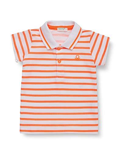 UNITED COLORS OF BENETTON Maglia Polo, Blanc (Bianco/Arancio 00e), 80/86 (Taille Fabricant: 82) Mixte bébé
