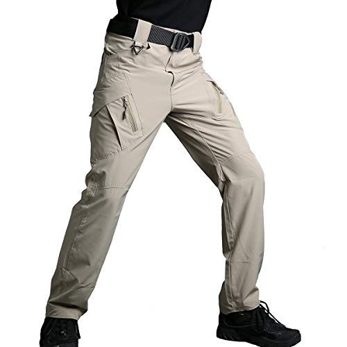 ReFire Gear Urban Ops Military Tactical Pants for Men Summer Thin Outdoor Sport Hiking Camping Mountain Airsoft Trousers Khaki, 36W x 32L