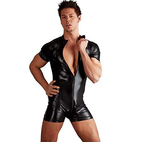 Herren Glänzendes Lackleder Catsuit Ganzkörper-Men Design Sexy Latex Eng Zipper Jumpsuit Gummi Kleidung mit Schrittgurt Zip,M