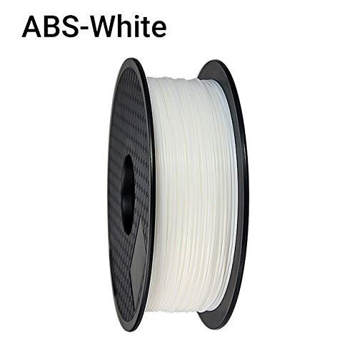 ZHANGDONG Excellente qualité Solide ABS Haut de Gamme Filament 3D Imprimante 1.75mm 1KG Consommables Caoutchouc Plastique Matériel Couleur Noir for l'impression 3D Prix raisonnable (Color : White)