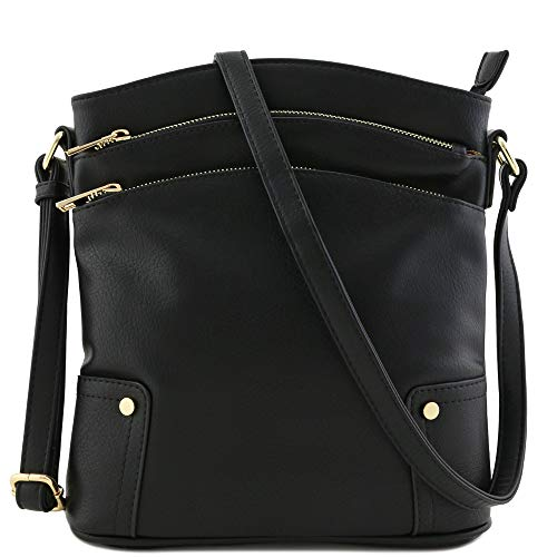 Triple Zip Pocket Large Crossbody Bag (Black)