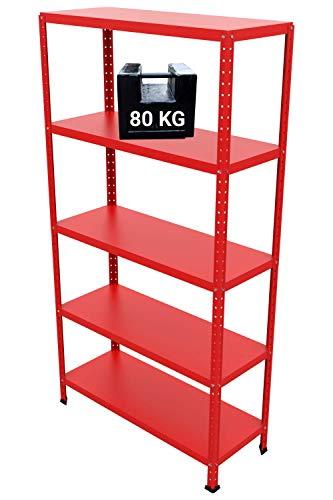 GRIMA Componibili Scaffale Metallo 5 ripiani - 100x40x187h (80KG each, total 400KG) Scaffali in metallico, scaffalature metalliche, acciaio per garage, cucina, libreria, ufficio (Rosso)
