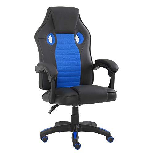Racing Office Gaming Stühle sind speziell für die langen Stunden von Büroangestellten oder Videospielern entwickelt (blau).