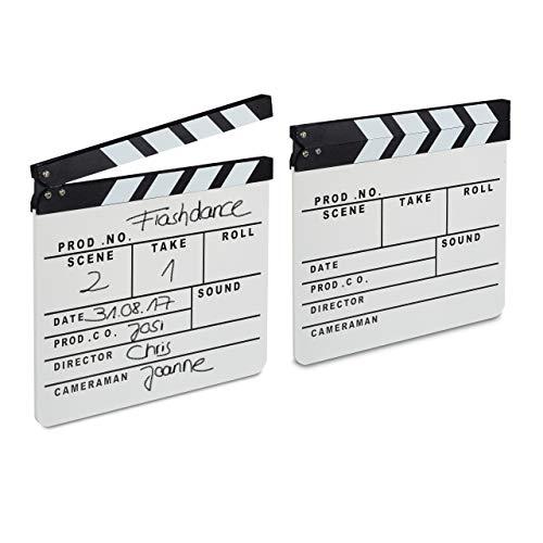Relaxdays Pack de 2 Claquetas Cine para Escribir, Madera, Blanco, 26 x 30 cm