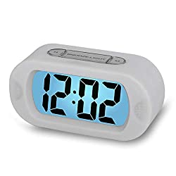 Digital Alarm Clock - Plumeet Travel Clock with Snooze and Nightlight - Easy to Set Simple Bedside Alarm Clocks for Kids - Ascending Sound - Battery Powered (White)