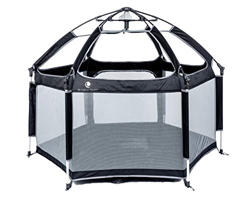 Pop 'N Go Portable Playpen - Lightweight, Folding, Easily Collapsible Playard Crib for Indoor & Outdoor Play - Perfect Canopy Play Pen for Any Baby Toddler or Small Child (Black)