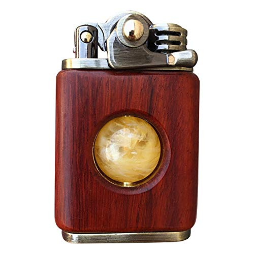 Antique Vintage Trench Lighter,Unique Reusable Windproof Lighters for Smoking Weed,Cool Fancy Novelty Lighter for Husband Boyfriend Father (Sandalwood+Beewax)