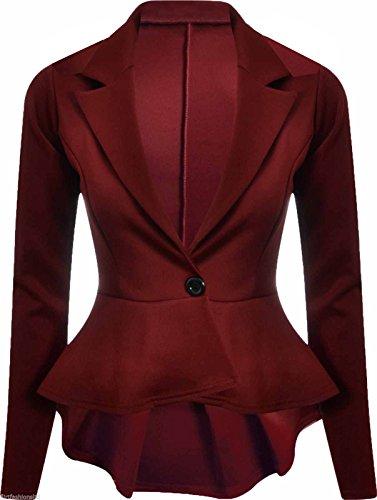 Womens Crop Frill Shift Slim Fit Fitted Peplum Blazer Bordeaux 24