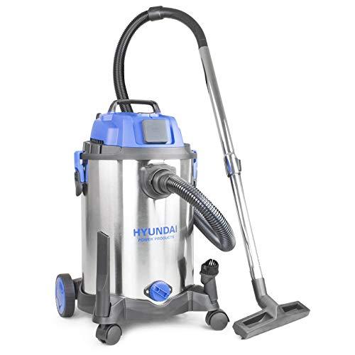 Hyundai HYVI3014 1400 Watt 3 in 1 Multi Purpose 30 Litre Wet & Dry Electric Vacuum Cleaner with Blower Function & Power Tool Socket, Stainless Steel Tank, Bagged Or Bagless Options, HEPA, Blue, Silver
