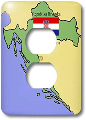 3drose Lsp 47324 6 Map And Flag Republic Of Croatia Printed In English And Croatian Outlet Cover Outlet Plates Amazon Com