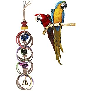 Parrot Chewing Toys Colorful Chewing Loops Bite Hanging Toy With Bells Bird Parrots Rope Pet For Parrots Squirrels Birds Delivered In Random Color For Macaw African Grey Parakeet Lovebird Cockatoo Birds Finches