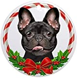 Mars Secret Novelty Decoration Brindle French Bulldog Christmas Ornaments Ceramic Round Christmas Tree Hanging Keepsake 3 Inches