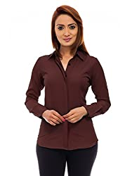 Femninora Womens Brown Color Full Sleeves Formal Shirt