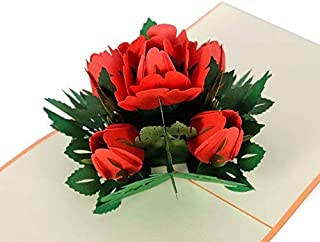 CUTPOPUP Birthday Greeting Pop Up Card with Rose Flower- Paper Art & Handicraft, Lovely Design, Such a Happy Image That Suitable for Birthday Especially for Mother's Day