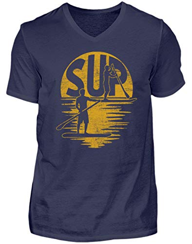 SUP – Stand Up Paddling – Paddle Board Surf Surfer Surf Tabla Deportes acuáticos – Hombre V-Neck Shirt azul oscuro XL