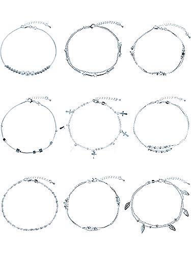 Hestya 9 Pièces Argent Bracelet de Cheville Ajustable Pieds Nus Chaîne de Sandales Cheville Pied de Plage Bijoux de Pied pour Femmes Filles