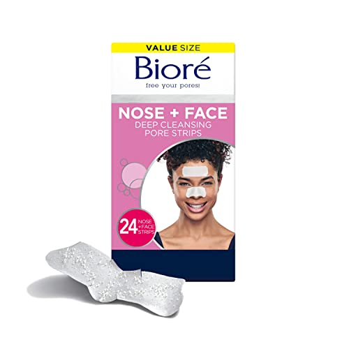 Bioré Nose+Face, Blackhead Remover Pore Strips, 12 Nose + 12 Face Strips for Chin or Forehead, with Instant Blackhead Removal and Pore Unclogging, Oil-free, Non-Comedogenic Use, 24 Count