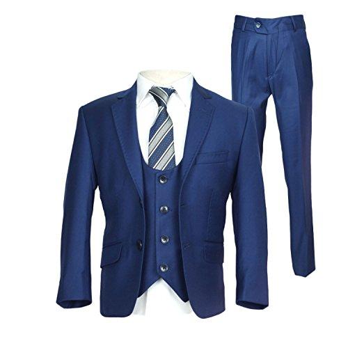 SIRRI Designer Jungen Formelle Enganliegend Anzüge, Pagen Hochzeit Ball Anzug, Exklusiv Kinder Anzug - Parlament Blau 5 Teile, Jungen, 164