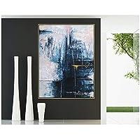 アートパネル PIPAO あなたが山に行くなら抽象表現主義キャンバスに青い現代絵画ポスター壁画プリント家の装飾 23.6x31.5in(60x80cm)x1pcs フレームなし