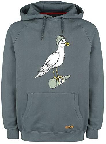 derbe Herren Kapuzenpullover Storm Seagull dunkelgrau Möwe - M