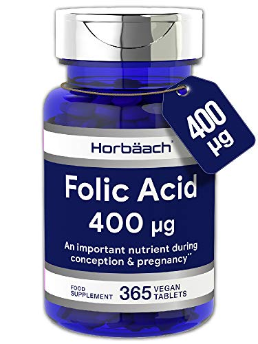 Folic Acid (Vitamin B9) 400mcg | 1 Year Supply 365 Tablets | Pregnancy Care | Vegan & Vegetarian Formula | Non-GMO, Gluten Free Supplement