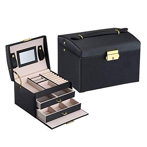 Gymqian Fashion Jewellery Storage Box Leather Jewelry Case Necklace Ring Storage Jewelry Storage Box with Mirror Portable/Black / 17.5 * 14 * 13cm