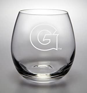 Georgetown Hoyas Deep Etched Stemless White Wine Glass